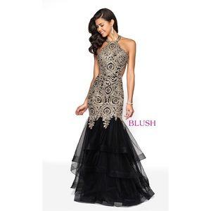 BLUSH - Black and Gold Prom Dress